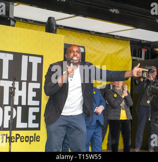 London, UK. 23rd Mar, 2019. David Lammy Labour MP speaking at the People's Vote March and rally, 'Put it to the People.' Credit: Prixpics/Alamy Live News - Stock Image