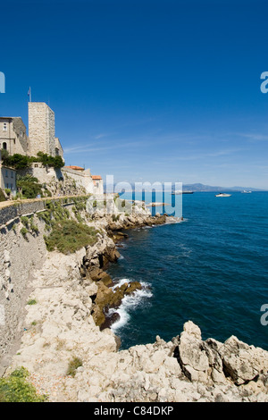 Antibes, Picasso Museum above the ramparts of the old town, South of France - Stock Image