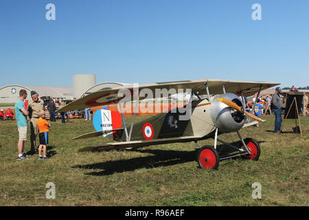 NIEUPORT II airplane replica. N921DH. World War 1 Dawn Patrol Anniversary Rendezvous event. The National Museum of the United States Air Force, Wright - Stock Image