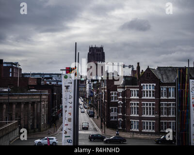 A view along Hope Street, Liverpool with the Anglican cathedral in the background - Stock Image