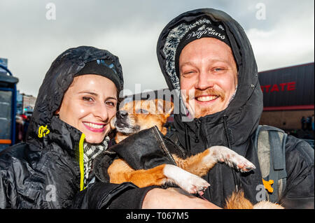 Birmingham, West Midlands, UK. 17th Mar, 2019. The Birmingham St. Patrick's Day parade took place today in front of 90,000 people amidst sun and heavy hail showers. Credit: Andy Gibson/Alamy Live News - Stock Image