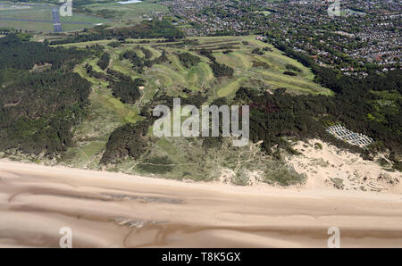 aerial view of Formby Golf Club, near Liverpool - Stock Image
