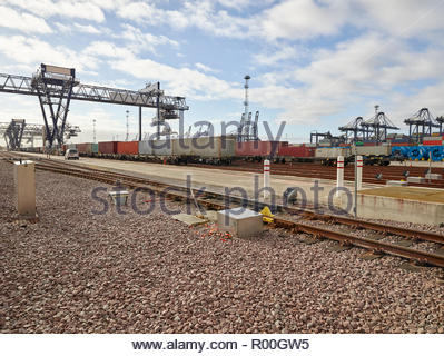 Railroad tracks at Port of Felixstowe, England - Stock Image