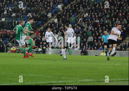 Belfast, UK. 21st Mar 2019. National Football Stadium at Windsor Park, Belfast, Northern Ireland. 21 March 2019. UEFA EURO 2020 Qualifier- Northern Ireland v Estonia. Action from tonight's game. Niall McGinn scored for Northern Ireland.. Credit: David Hunter/Alamy Live News. - Stock Image