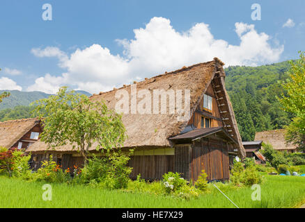 Old house of unique gassho style with thatched roof in Ogimachi village of Shirakawa-go district. World Heritage - Stock Image