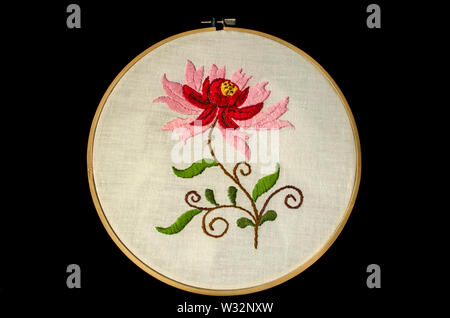 White cotton fabric on a wooden embroidery frame with a flower of red and pink petals  on it on twisted branches with leaves on  black background - Stock Image