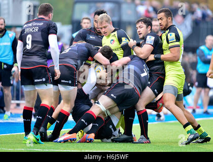 AVIVA Rugby Premier League Saracens v Leicester Tigers at Allianz Park London, UK. 29th Oct, 5. Action during the - Stock Image