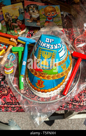 Israel, Tel Aviv-Yafo - 08 March 2019: Dizengoff Flea Market now on Giv'on street - hats and other gadgets sold for Yom haatzmaout - Stock Image