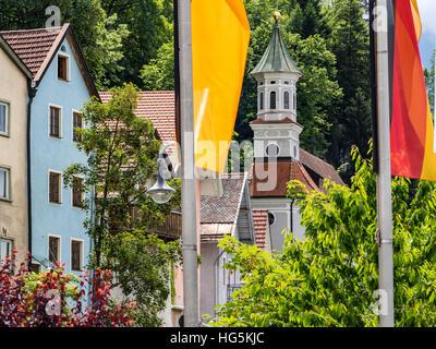 Church 'unserer Lieben Frau am Berg', at river Lech, Fuessen, Allgaeu, Germany - Stock Image