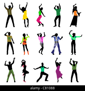 dancing people silhouettes isolated on white background - Stock Image