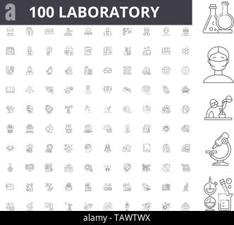 Laboratory line icons, signs, vector set, outline illustration concept  - Stock Image