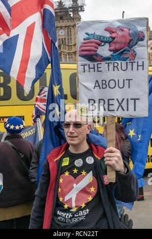 London, UK. 15th January 2019. A north East for Europe protester holds a placard 'The Truth About Brexit'. Groups against leaving the EU, including SODEM, Movement for Justice and In Limbo and Brexiteers Leave Means Leave and others protest opposite Parliament as Theresa May's Brexit deal was being debated.  While the two groups mainly kept apart, a small group, some in yellow jackets came to shout insults at pro-EU campaigners, while police tried to keep the two groups separate. Credit: Peter Marshall/Alamy Live News - Stock Image