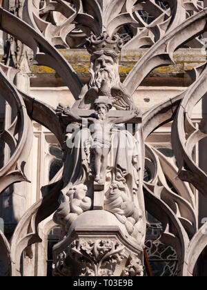 Statue of God and Jesus on exterior of Saint Maclou Church, Rouen, Normandy, France - Stock Image
