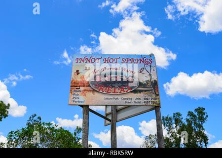 Sign for Innot Hot Springs, a popular destination, Nettle Creek, Atherton Tablelands, Far North Queensland, FNQ, QLD, Australia - Stock Image
