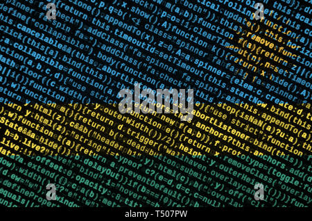 Rwanda flag  is depicted on the screen with the program code. The concept of modern technology and site development. - Stock Image