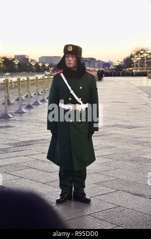 Chinese guard standing for Lowering Flag Ceremony in front of Tiananmen, Beijing - Stock Image