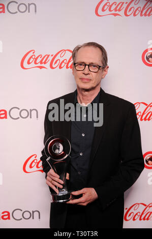Las Vegas, USA. 04th Apr, 2019. Actor Steve Buscemi arrives for the 2019 CinemaCon Big Screen Achievement Awards at Omia nightclub at Caesars Palace in Las Vegas on April 4, 2019. Credit: The Photo Access/Alamy Live News - Stock Image