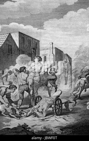 The Bloody Irish Massacre in 1642 wherin 40,000 protestants were inhumanly sacrificed by the Papists. Engraving - Stock Image
