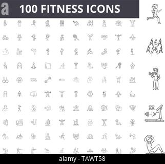 Fitness line icons, signs, vector set, outline illustration concept  - Stock Image