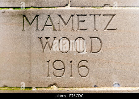 Mametz Wood, The Somme, France - The stone plinth name at the memorial to the missing - Stock Image