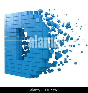 letter D shaped data block. version with blue cubes. 3d pixel style vector illustration. suitable for blockchain, technology, computer and abstract th - Stock Image