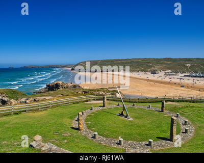 22 June 2018: Perranporth, North Cornwall, UK - The Perranzabuloe Millennium Sundial by local artist Stuart Thorn, overlooking the beach, during the s - Stock Image