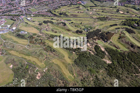 aerial view of Royal Birkdale Golf Club & Hillside Golf Club, Southport, Lancashire, UK - Stock Image