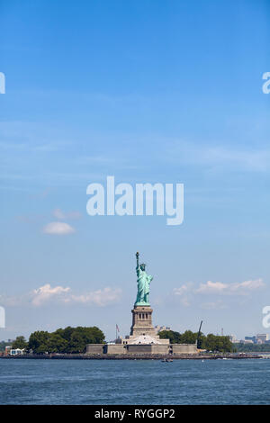 Statue of Liberty against the blue sky, New York, USA. - Stock Image