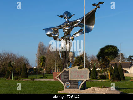 Grandcamp-Maisy, Normandy, France, March 26, 2019, The World Peace Statue stands at the entry to Grandcamp Maisy - Stock Image