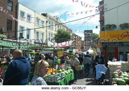 Market day in the High Street of Dartford, Kent, UK. - Stock Image