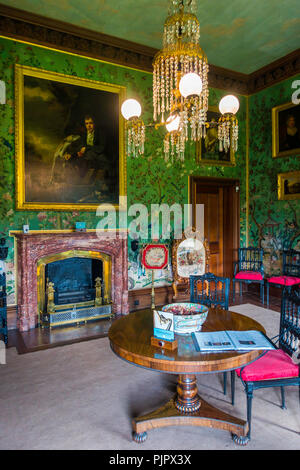 Sir Walter Scott's Drawing Room with hand painted Chinese Wallpaper in his home Abbotsford Melrose Scotland - Stock Image