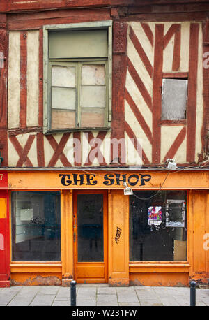 Wooden framed shop in the old quarter of Rennes the capital of Brittany, France - Stock Image