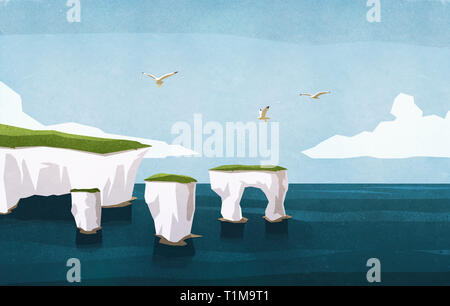 Seagulls flying over ocean rock formations - Stock Image