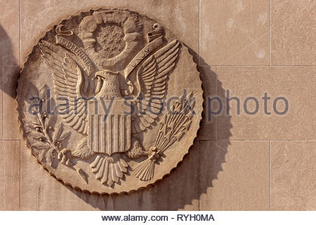 Great Seal of the United States on the wall of the US consulate in Toronto Ontario Canada - Stock Image