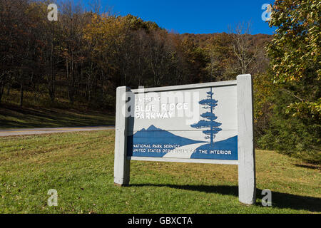 Entrance to Blue Ridge Parkway road sign, Asheville, NC, USA - Stock Image