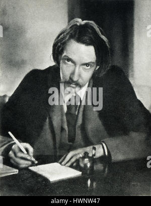 Robert Louis Stevenson, 1885 portrait photograph of the popular author of Treasure Island, aged 35 writing in his - Stock Image