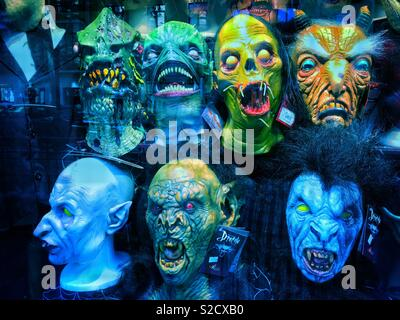 A collection of scary face masks. It must be Halloween?! Photo Credit - © COLIN HOSKINS. - Stock Image