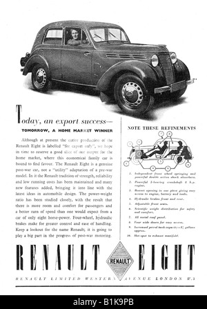 1940s 1948 advertisement for a Renault Eight 8 Motor Car FOR EDITORIAL USE ONLY - Stock Image
