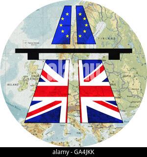 Splendid Isolation, UK closes its borders, United Kingdom UK leaving the EU - Stock Image