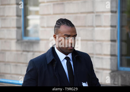 Former JLS singer Oritse Williams arriving at Wolverhampton Crown Court for the second week of a rape trial, at which he denies attacking a woman in his hotel room in the city in December 2016. - Stock Image