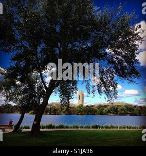 Canberra's Lake Burley Griffin with the Carillon Australia's National Capital - Stock Image