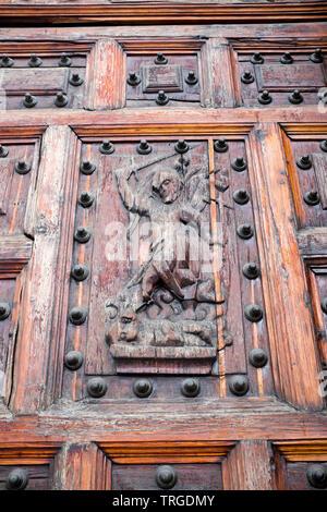 Door Detail Metropolitan Cathedral Mexico City - Stock Image