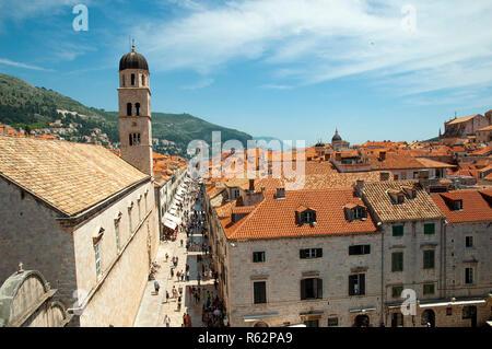 Aerial view of rooftops in Dubrovnik, Croatia - Stock Image