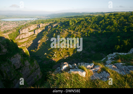 Cheddar Gorge in early morning sunlight - Stock Image