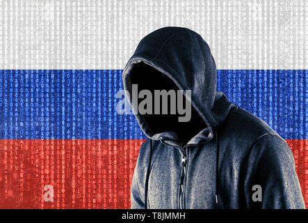 Russian hooded computer hacker - Stock Image