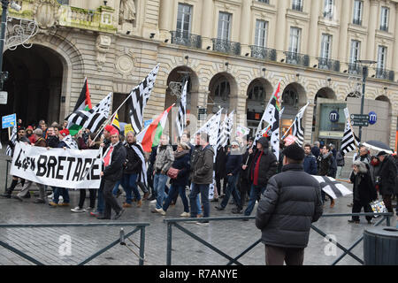 Renne, France. 8th Dec 2018. Participants in a peaceful demonstration in Rennes, Brittany, France on 8 December, 2018. Credit: Deborah Harmes/Alamy Live News - Stock Image