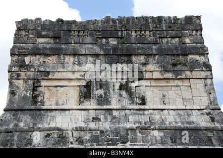 Detail of the Top of the Entrance to the Great Ballcourt, Juego de Pelota, Chichen Itza, Yucatan Peninsular, Mexico - Stock Image