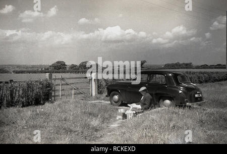 1950s, historical, lady sitting by her car by a field having an picnic, England, UK. - Stock Image