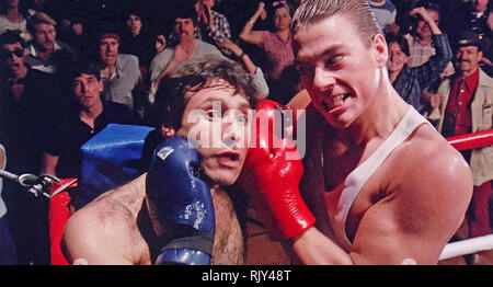 NO RETREAT, NO SURRENDER 1986 New World Pictures film with Jean-Claude  Van Damme at right and Ron Pohnel - Stock Image