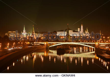 Night Kremlin on the banks of the river 'Moscow'. Panorama of night city. - Stock Image